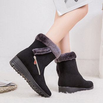 Winter new wish Amazon warm women's snow boots side chain suede leather 43 yards low heel casual women's shoes