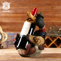 High Quality Lifelike Duck Wine Holder American Retro Cowboy Duck Figurine Cafe Bar Decoration Vintage Home Decor Accessories