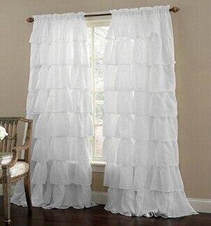 Cortina de tule plissada personalizada, multi-camada de renda para quarto da menina semi-sombra branca/verde/rosa cortinas pura para sala de estar