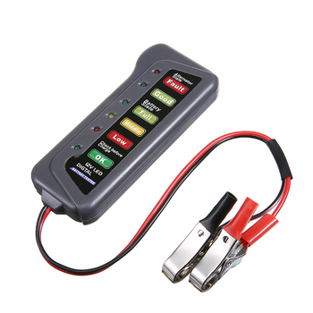 Mini 12V Car Battery Load Tester Digital Alternator Testers 6 LED Indicator Car Diagnostic Tool Auto Battery Testers w/2 Clips image