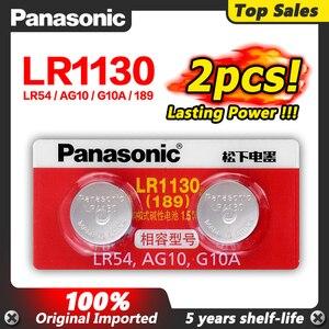100% оригинальный 1,5 V AG10 LR1130 Щелочная батарейка-кнопка AG10 Panasonic 2 шт./лот Батарея сотовый 389 LR54 SR54 SR1130W 189 LR1130