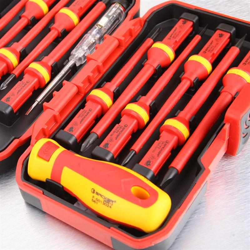Tools : 13pcs 1000V Insulated Screwdrivers Set And Magnetic Slotted Pozidriv Torx Bits Electrician Tools VDE Insulation High Voltage