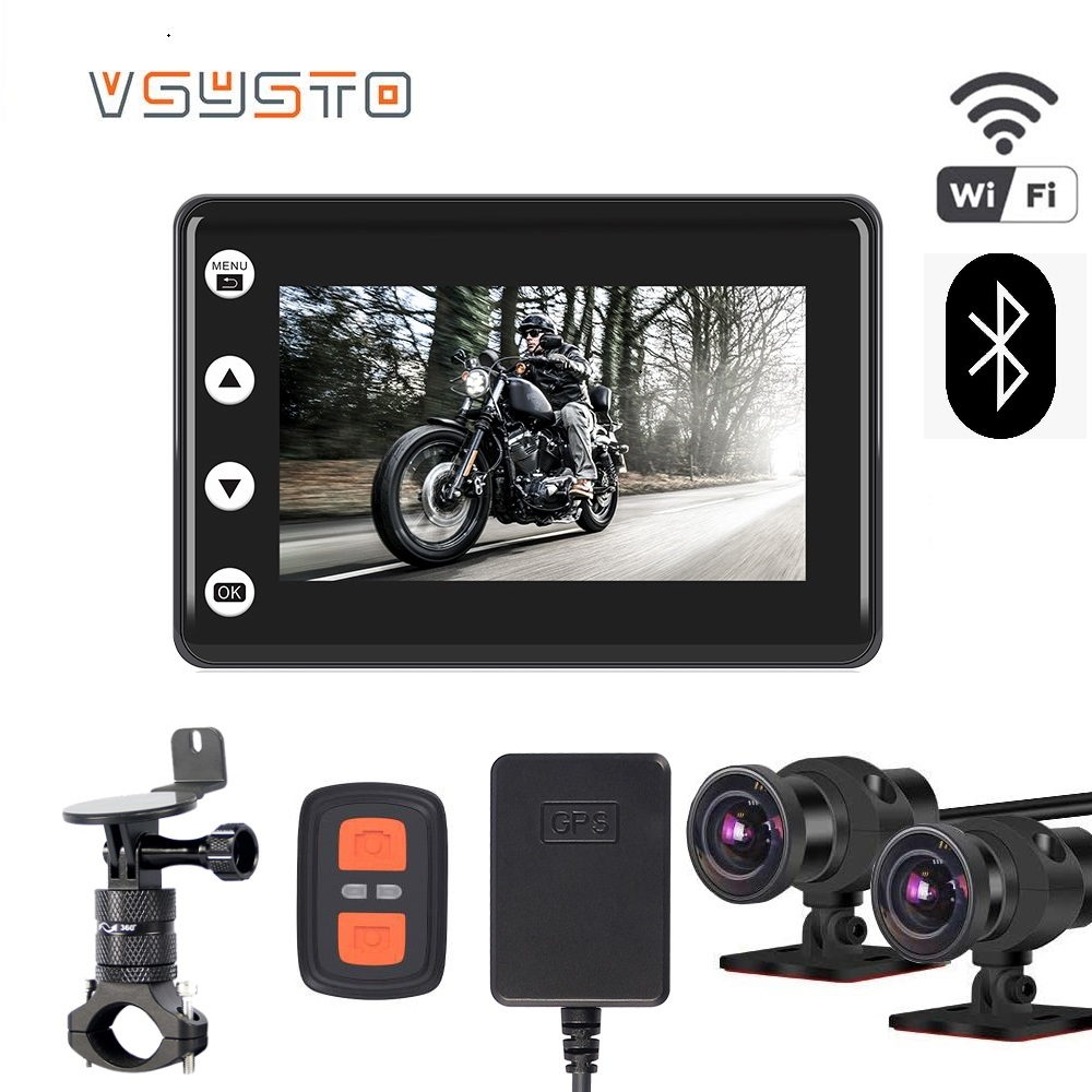 VSYSTO 170 degrees motorocycle DVR Dual 1080P Bluetooth dash camera waterproof moto video recorder with hanrdlebar bracket image