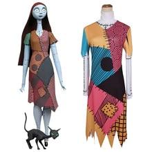 Desenhos animados o pesadelo antes do natal cosplay sally vestido traje halloween festa topos vestidos conjunto
