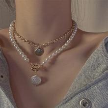 AOMU 2 unids/set Corea dulce perla oblea colgante Simple personalidad Metal oro Geometic Collar para la joyería de las mujeres