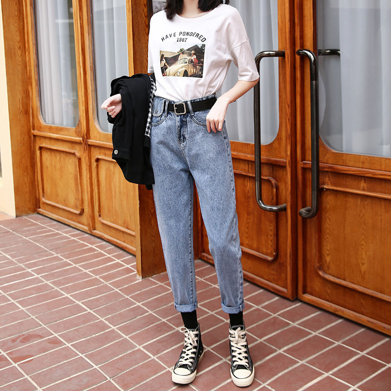 2020 Early Spring New Dad Jeans Female Loose Korean Student Female High Waist Was Thin Harlan Straight Nine Points Radish Pants