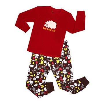 100 Cotton Boys and Girls Long Sleeve Pajamas Sets Children's Sleepwear Kids Christmas Pijamas Infantil Homewear Nightwear - NO43, 5