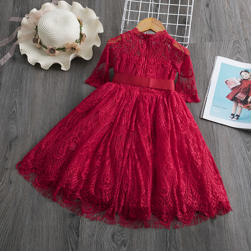 Ha02fa9a0ea9842e29ef0375e3fddfcfeF Red Kids Dresses For Girls Flower Lace Tulle Dress Wedding Little Girl Ceremony Party Birthday Dress Children Autumn Clothing