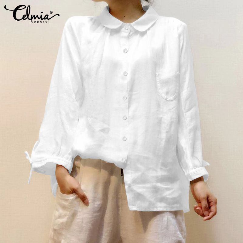 Top Fashion 2019 Celmia Women Vintage Blouses Cotton Casual Long Sleeve Ladies Shirts Buttons Baggy Blusas Femininas Plus Size