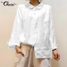 Top Fashion 2020 Celmia Women Vintage Blouses Cotton Casual Long Sleeve Ladies