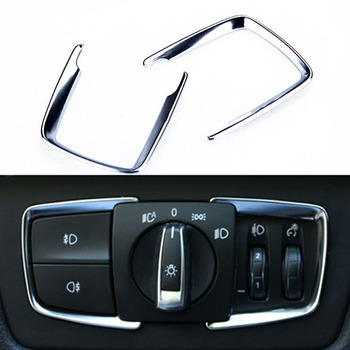 Chrome Headlight switch trim Replacement Accessories Refit 2pcs Car Frame Cover Sticker For BMW 1 2 3 4 Series X5 X6 image