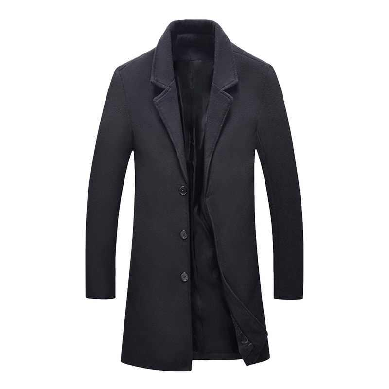 Laamei Yeni Sonbahar Kış Yün Uzun Ceket Erkekler Sıcak Siyah Iş Palto Erkek Şık Yün Ceket Parka Erkekler Ceket Kış