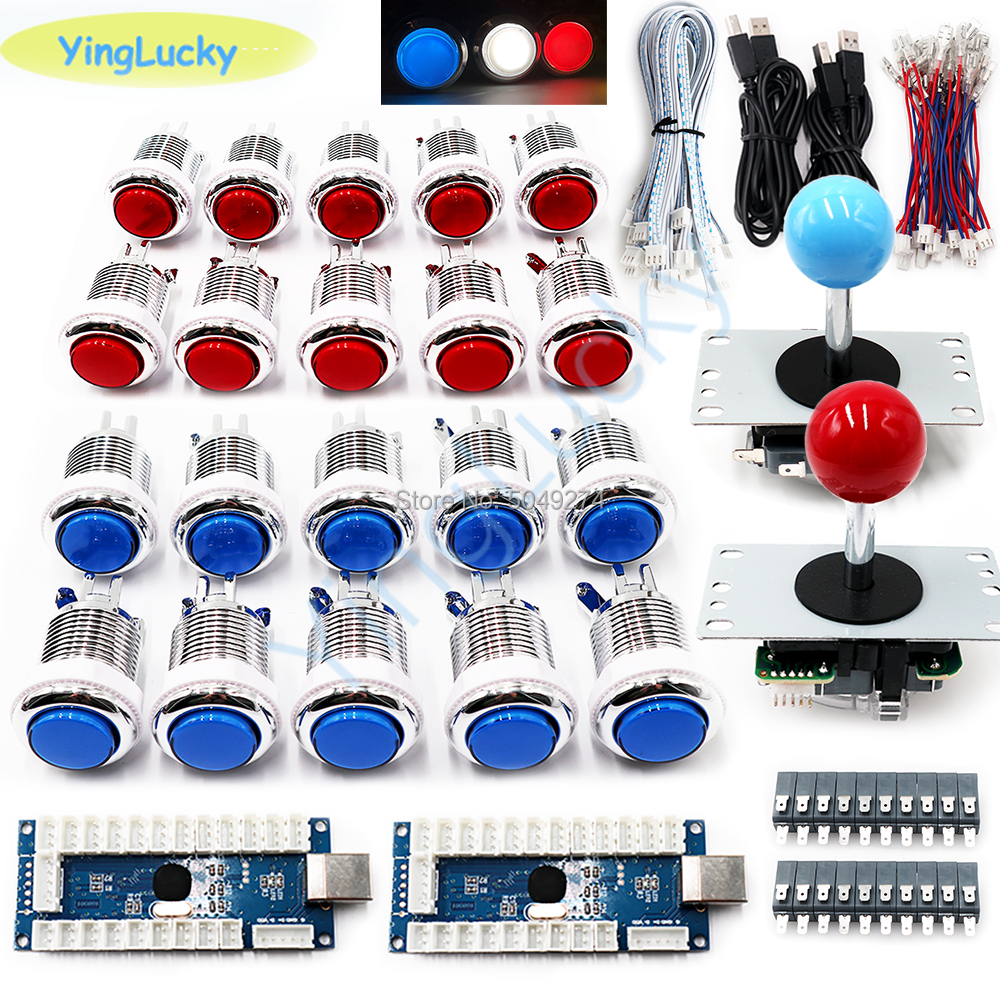 Arcade DIY Arcade Joystick Set With 20 LED Arcade Buttons + 2 Joysticks + 2 USB Encoder Kit + Cable Set Arcade Game Pieces