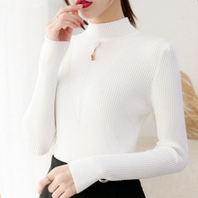 Sueter mujer invierno 2019 winter knit sweater women clothes Turtleneck sweaterladies Pullovers Beading Solid 0360