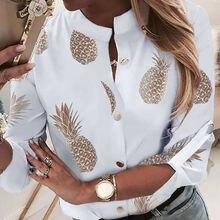 OL рубашка Топ одежда женская одежда с круглым вырезом длинный рукав Офисная Леди Лето Осень блузка рубашка с изображением ананаса женские топы