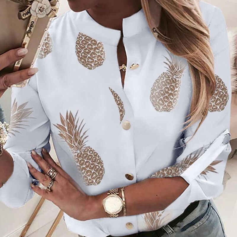 OL Shirt Top Kleding Vrouwen Hals Lange Mouwen Office Lady Zomer Herfst Blouse ananas Overhemd Dames Tops