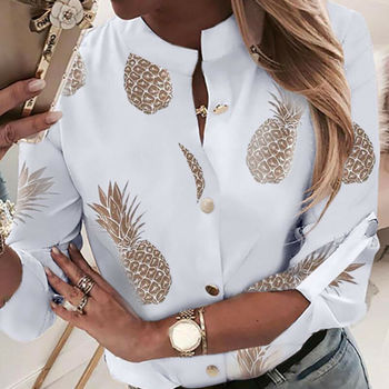 OL Shirt Top Clothes Women Crew Neck Long Sleeve Office Lady Summer Autumn Blouse pineapple Shirt Ladies Tops black cutout details crew neck long sleeves sheer shirt