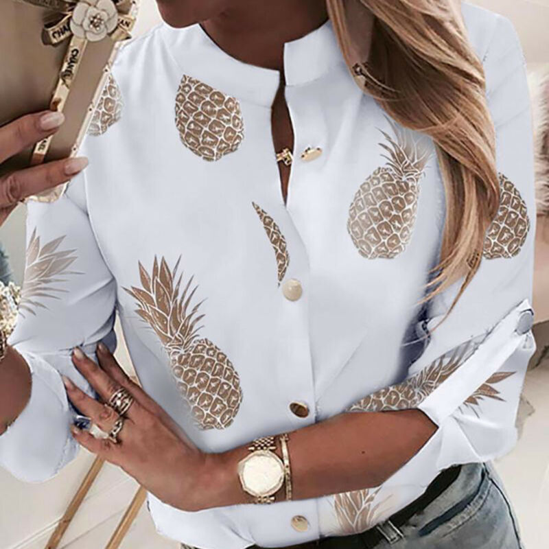 OL Shirt Top Clothes Women Crew Neck Long Sleeve Office Lady Summer Autumn Blouse pineapple Shirt Ladies Tops image