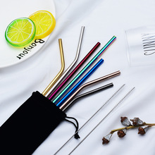 6/8 Pcs Reusable Metal Drinking Straw Stainless Steel Sturdy Bent Straight Drinks Straws With Cleaner Brush Party Bar Accessory 1 2 4 6 8pcs lot reusable stainless steel drinking straw metal straight curved with 1 2 3 cleaner brush kit home bar drinkware
