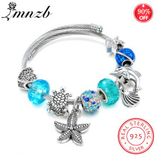 90% OFF! Solid 925 Silver Turtle Shell Charms Bangle Blue Crystal Ocean Series DIY Beads Adjustable Cuff Bracelet SZ151(China)