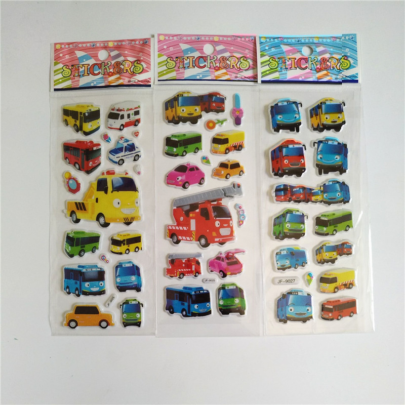 6 Sheets Tayo The Little Bus Stickers Anime Tayo Bus Sticker For Kids Laptop Decal Fridge Skateboard Doodle Toy Bubble Stickers
