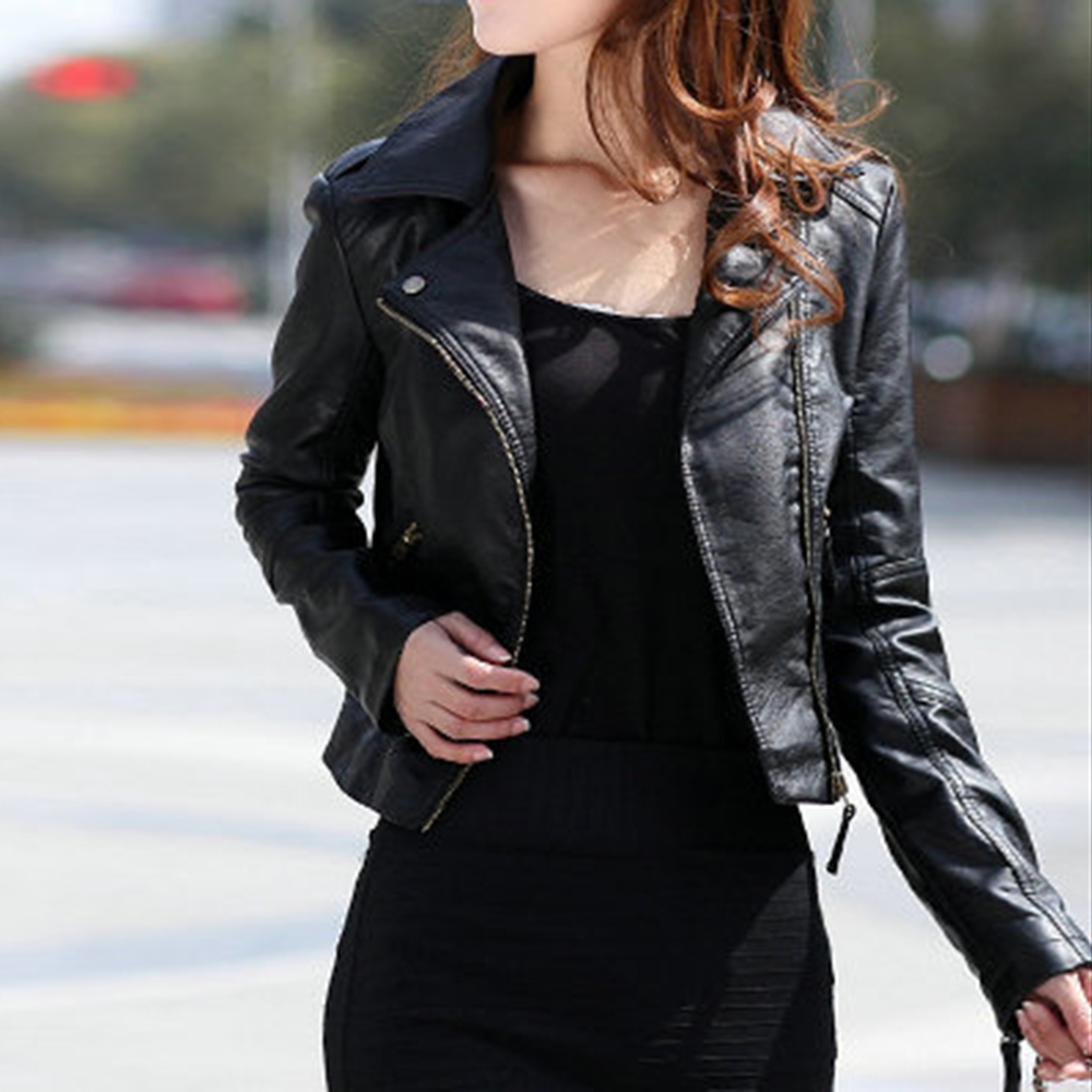 Autumn Zipper Motorcycle Jacket Women Short Faux Soft Womens Leather Jacket PU Leather Jacket Ladies Basic Street Coat