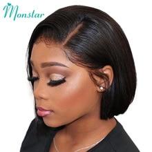 Monstar 13x6 dantel Frontal brezilyalı düz Remy doğal renk/1B 613/613 sarışın kısa Bob dantel ön İnsan saçı peruk kadınlar için