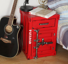 Retro Iron Bedside Table Bedroom Nightstand Cabinet Storage box Locker Home Hotel Bar Furniture American industrial Style
