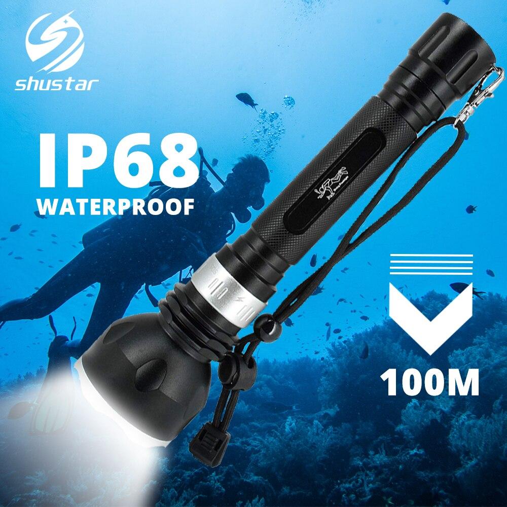 Lampe de poche de plongée étanche IP68 torche de plongée professionnelle 100M sous-marine avec interrupteur tactile rotatif 5 modes d'éclairage lampe de plongée