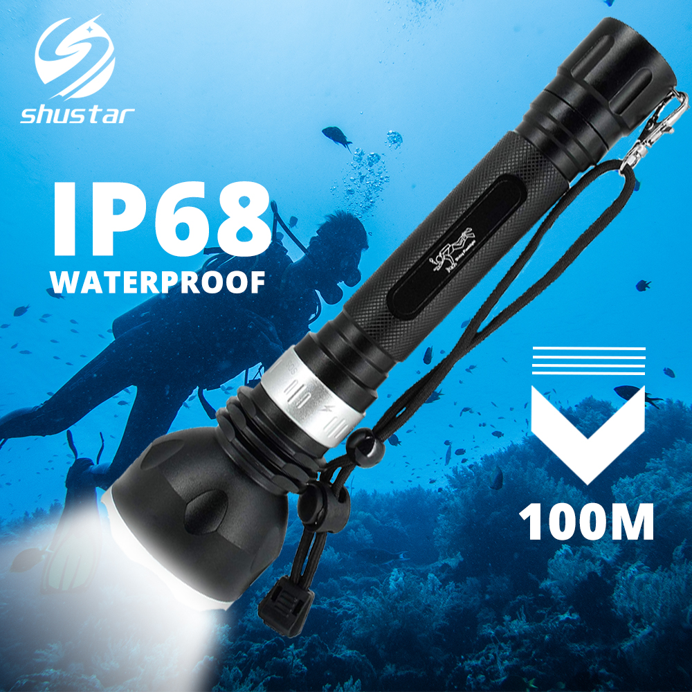 IP68 Waterproof Diving Flashlight Professional Diving Torch 100M Underwater With Rotary Touch Switch 5 Lighting Modes Dive Light