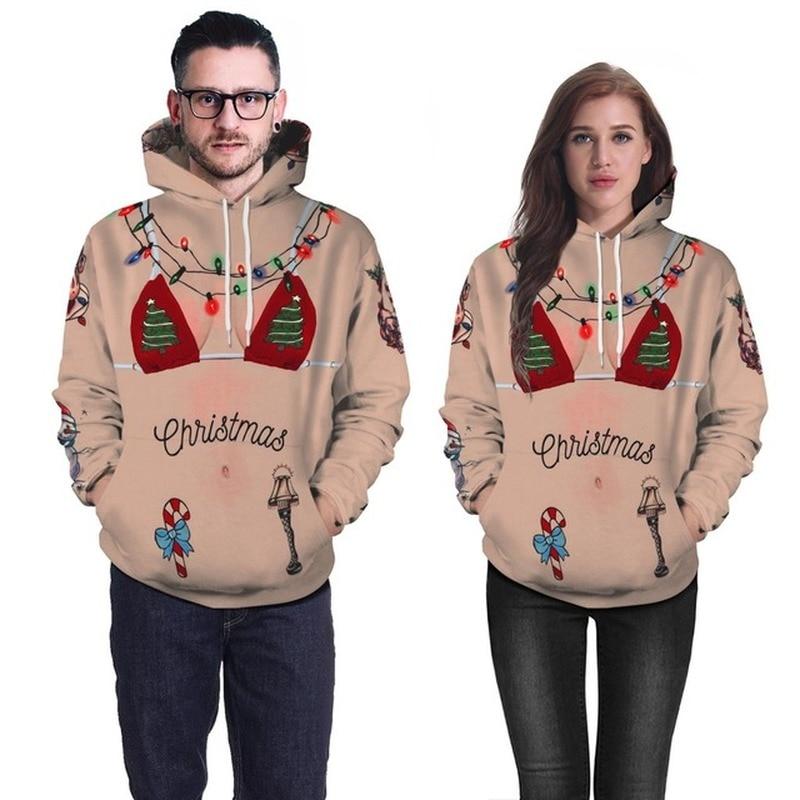 2019 Women Sweatshirt 3D Simulation Digital Printing Christmas Lady Hooded Sweater Long Sleeve Women Nightmare Before Christmas in Hoodies amp Sweatshirts from Women 39 s Clothing