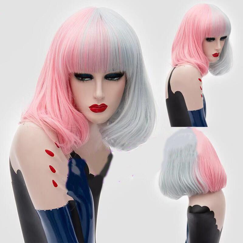 Image 5 - HAIRJOY perruque synthétique Double couleur pour femme  Perruque Cosplay moyenne lisse noire blanche, 4 Colos disponiblesPerruques synthétiques Cosplay   -