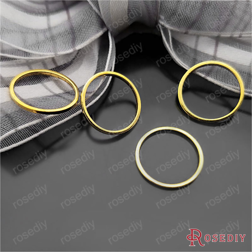Wholesale  Gold Color 10mm 14mm 25mm 30mm 40mm 50mm Round Copper Closed Ring Diy Jewelry Findings Accessories (JM6441)