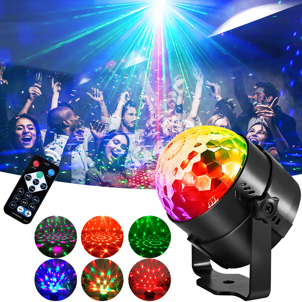 LED Disco Stage Light DJ Ball Sound Activated Projector Lamp With Remote Control For Christmas Party US/EU/UK/AU Plug