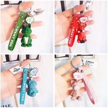 2020 New Fashion Cute Dinosaur Keychain Key Chain Cartoon Cotton Stuffing Cartoon PU Keyring Creative Car Bag Phone Key Ring
