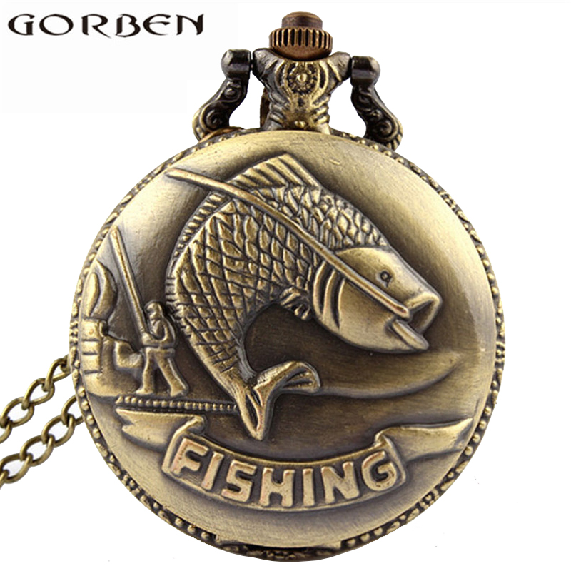Bronze Fishing Antique Style Quartz Pocket Watch Vintage Interesting Design Angling Quartz Pocket Watch For Men And Women P108