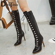 DORATASIA New Fashion Plus Size 33-48 Brand Pointed Toe Ladies High Heels Shoes Woman Party Sexy Evening Knee Boots Women
