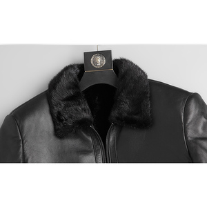 Image 5 - DK Natural Mink Fur Clothing Men Medium Long Winter Warm Leather Genuine Black Slim Sheepskin Leather Jackets
