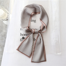 9x98CM NEW Autumn summer striped High Quality silk scarf for women Skinny Scarf  Head bands Satin Elegant neck bag ribbons