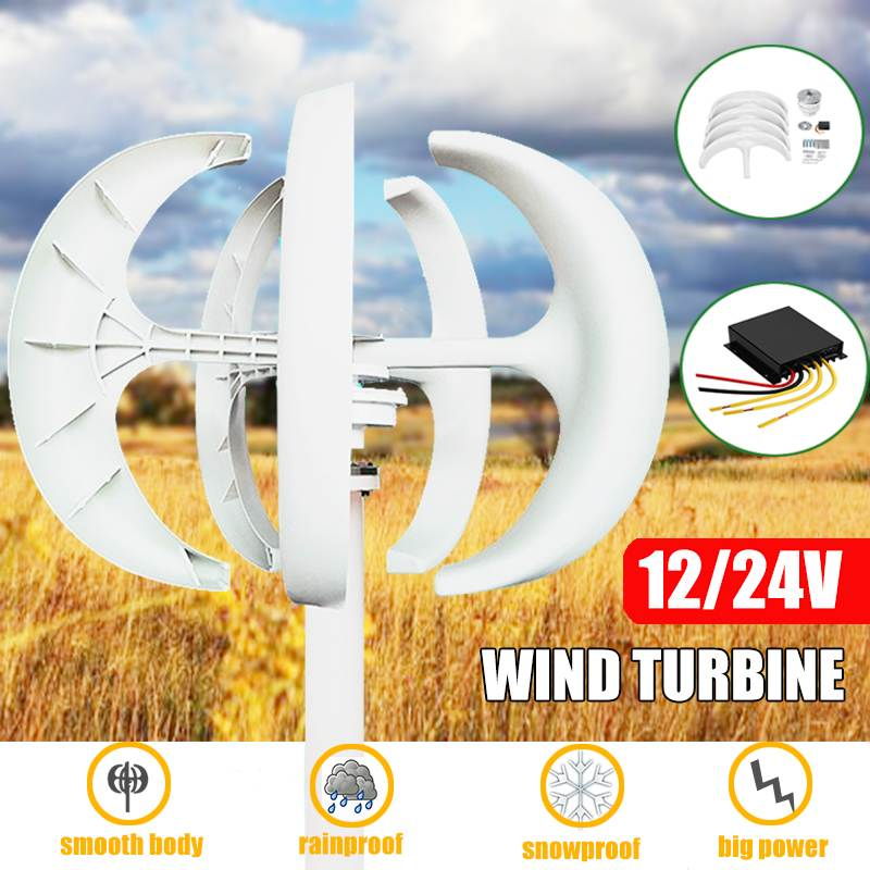 6000W 12/24V Wind Turbines Generator Lantern 5 Blades Motor Kit Vertical Axis With Controller Gift For Home Hybrids Streetlight