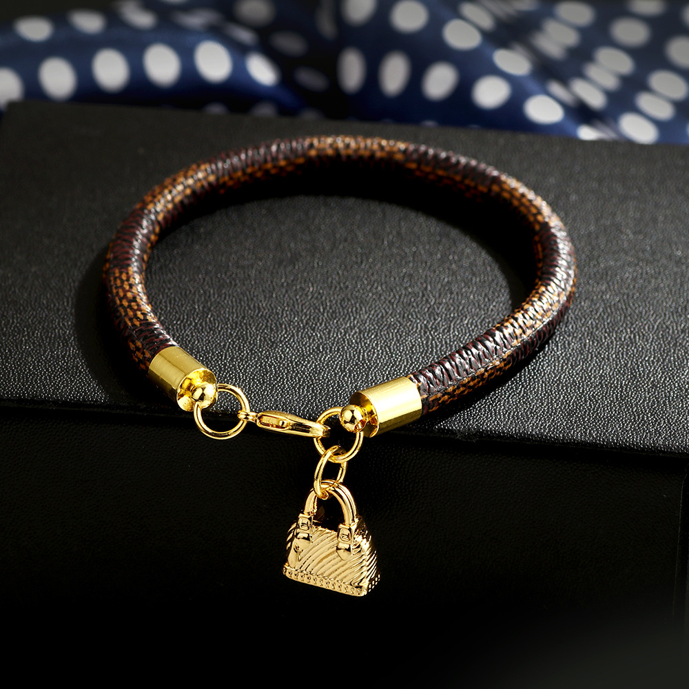 New Fashion Genuine Gold Plating Real Leather Women Man Bracelets with Bag Heart Lock Charms Pendant Bracelets 2020 Jewelry