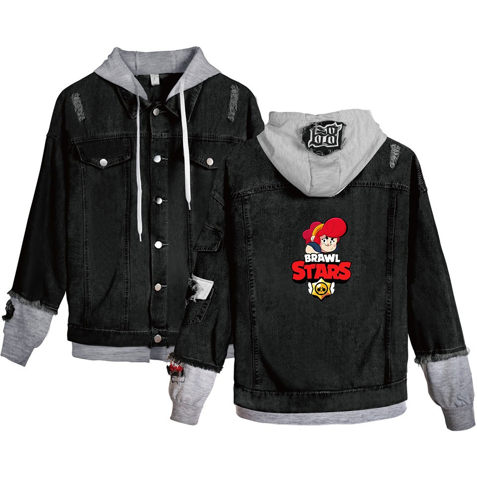 Womens Denim Jacket Cartoon Streetwear Tops Spring Jacket Brawl Stars Harajuku Hip Hop Denim Clothing in Jackets from Women 39 s Clothing