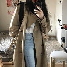 Double Breasted long Trench Coat Women Khaki Slim Belt Cloak Mujer Windbreaker F