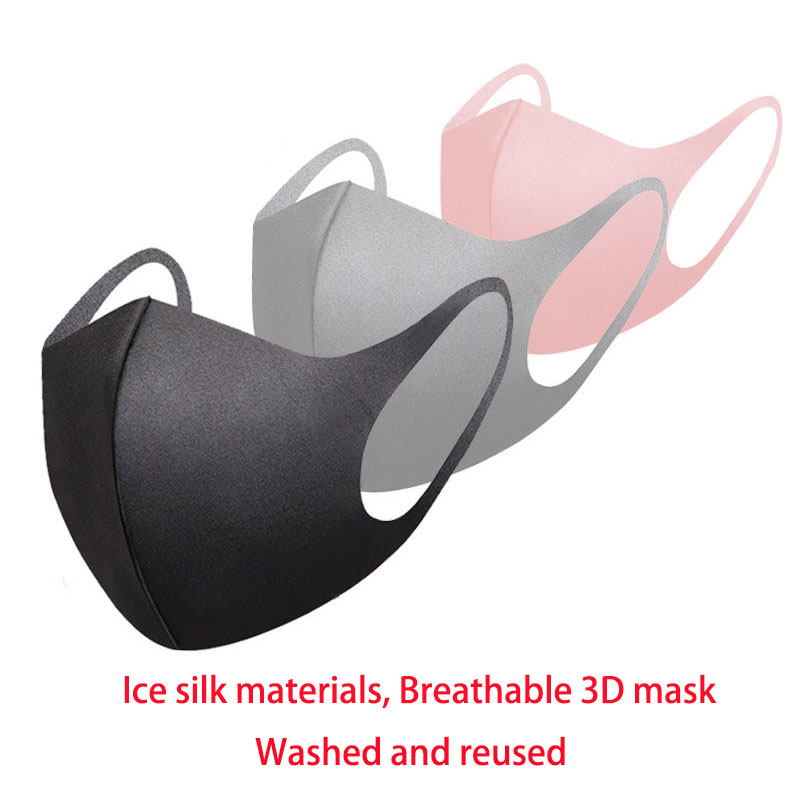 3D Mask Ice Silk Materials Well Breathable And Good Protecation Mask Washable And Reused Mask Black Grey Pink Mask