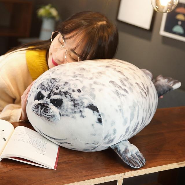 Super simulation Japan Seal Plush toy 3D printing Lifelike Seal Stuffed Pillow Fat Sea Animals Stuffed Animals doll toys for kid
