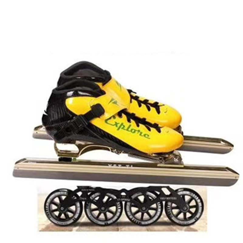 Carbon Fiber Inline Speed Skates Shoes Track Ice Skates Patines Roller Wheel Combination Muti-use Race 380 410 430 90 100 110mm