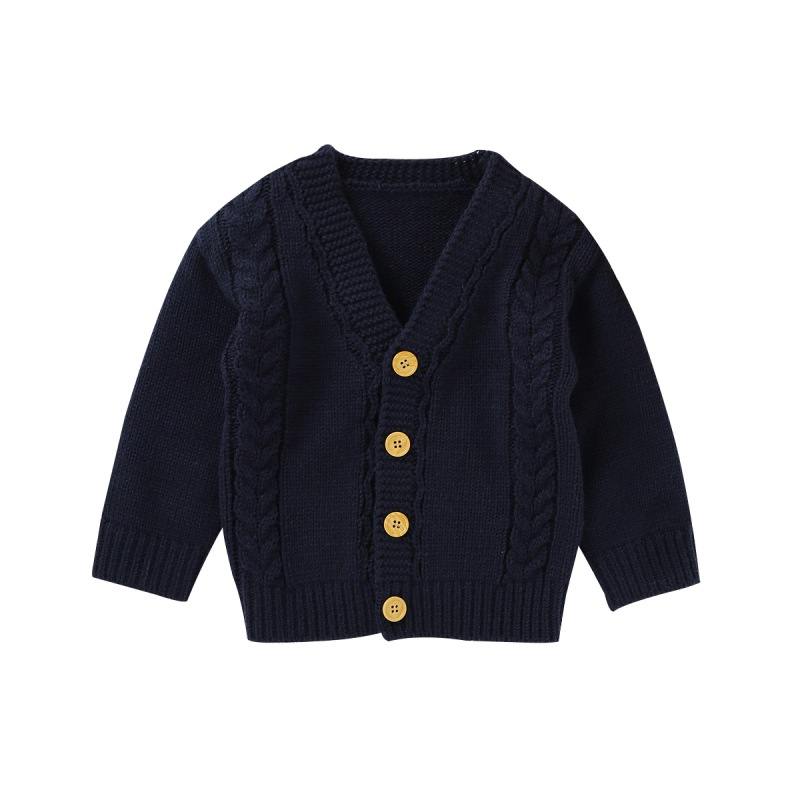 Fall Baby Boy Girl Sweater Cardigan Children Kids Sweatshirt Autumn Solid Print Knitted Cotton Casual Outerwear Warm Clothes