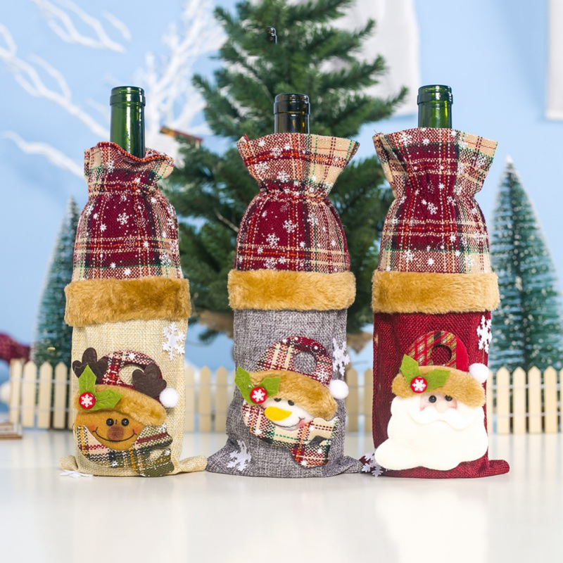 Christmas Wine Bottle Cover Santa Snowman Printed Wine Bottle Cover Drawstring Candy Gift Bag Holiday Dining Table Decoration
