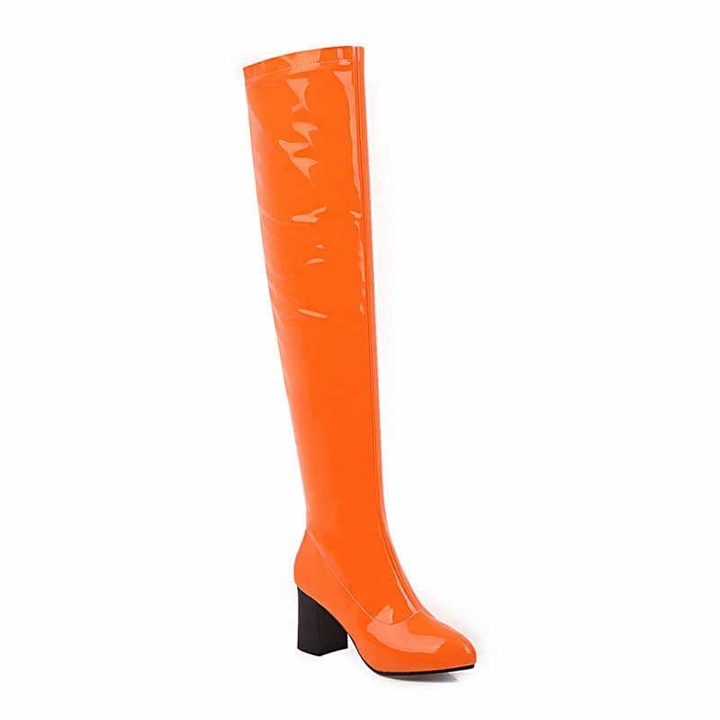 MORAZORA 2020 nouveauté femmes sur le genou bottes sexy talons hauts parti chaussures de bal automne mince Stretch bottes femme rouge