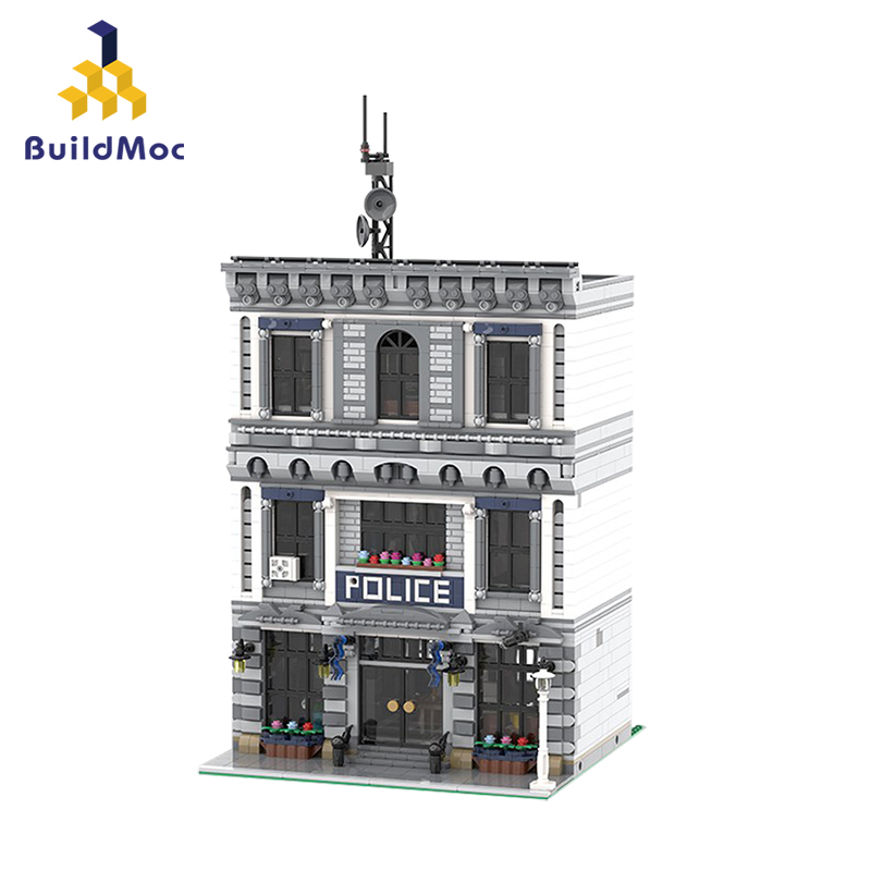 BuildMOC 21474 City Police Station Motorbike Helicopter Model Building Blocks Bricks Kits Compatible with City 60047